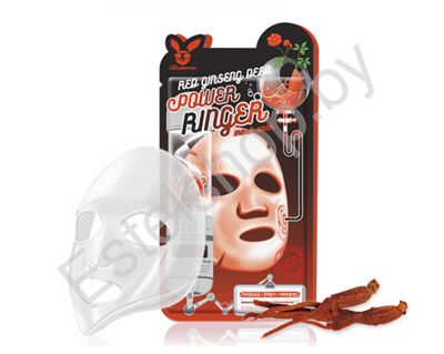 Тканевая маска для лица с Красным Женьшенем ELIZAVECCA RED GINSENG DEEP PQWER Ringer mask pack 1 шт